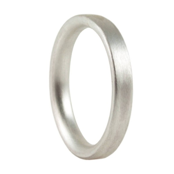 3mm Brushed Matte Flat Court Silver Wedding Ring - Handcrafted & Custom-Made