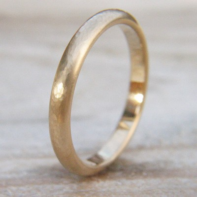 3mm Hammered Wedding Ring In 18ct Gold - Handcrafted & Custom-Made