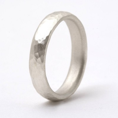 Thin Sterling Silver Hammered Ring - Handcrafted & Custom-Made