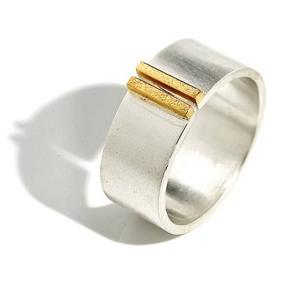 Silver And Gold Double Bar Wide Band Ring - Handcrafted & Custom-Made