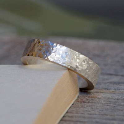 Personalised Textured Wedding Band In Sterling Silver - Handcrafted & Custom-Made
