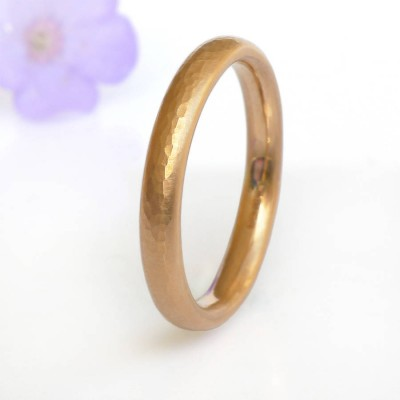 Hammered Comfort Fit Wedding Ring, 18ct Gold - Handcrafted & Custom-Made