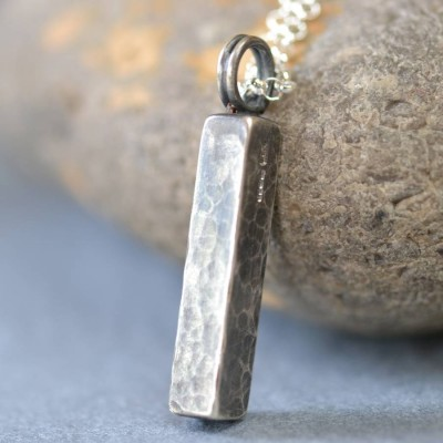 Handmade Blacksmiths Silver Hammered Block Necklace - Handcrafted & Custom-Made