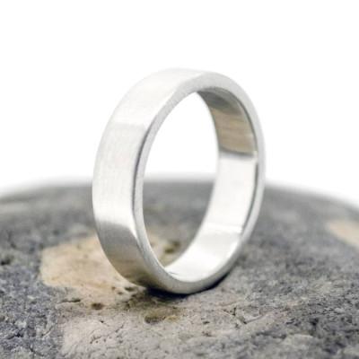 Handmade Satin Silver Rectangular Wedding Ring - Handcrafted & Custom-Made