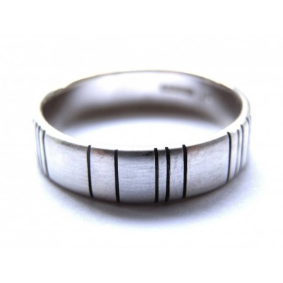 Mens Silver Barcode Oxidized Ring - Handcrafted & Custom-Made