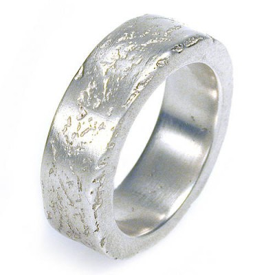 Medium Silver Concrete Ring - Handcrafted & Custom-Made