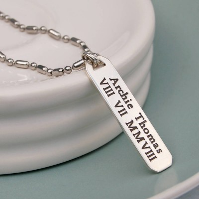 Mens Personalised Silver Vertical Bar Necklace - Handcrafted & Custom-Made