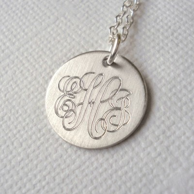 Mens Classic Sterling Silver Monogram Necklace - Handcrafted & Custom-Made