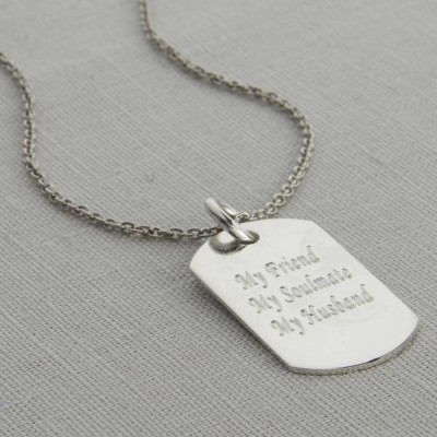 Personalised Polished Sterling Silver Dog Tag Necklace - Handcrafted & Custom-Made