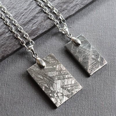 Meteorite And Silver Tag Necklace - Handcrafted & Custom-Made