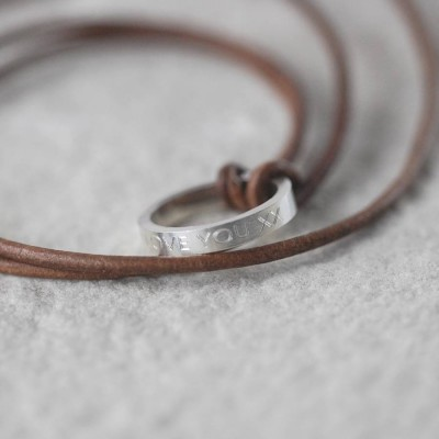 Personalised Leather Ring Necklace - Handcrafted & Custom-Made