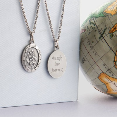 Personalised Mens St Christopher Silver Necklace - Handcrafted & Custom-Made