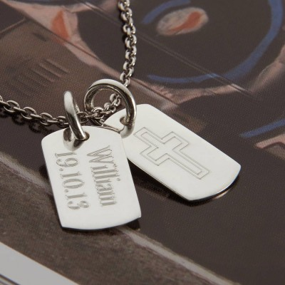 Personalised Sterling Silver Double Dog Tag Necklace - Handcrafted & Custom-Made