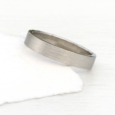 18ct White Gold Wedding Ring With Spun Silk Finish - Handcrafted & Custom-Made