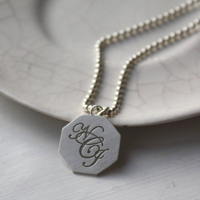 Silver Monogram Necklace - Handcrafted & Custom-Made