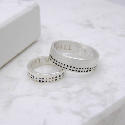Silver Personalised Cubes His And Hers Rings - Handcrafted & Custom-Made