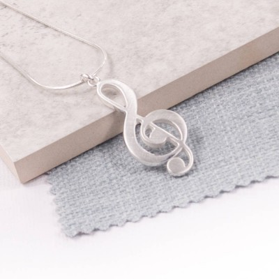 Silver Treble Clef Pendant - Handcrafted & Custom-Made