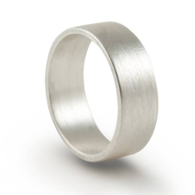 Silver Wedding Band Ring Hand Forged Flat Fit - Handcrafted & Custom-Made