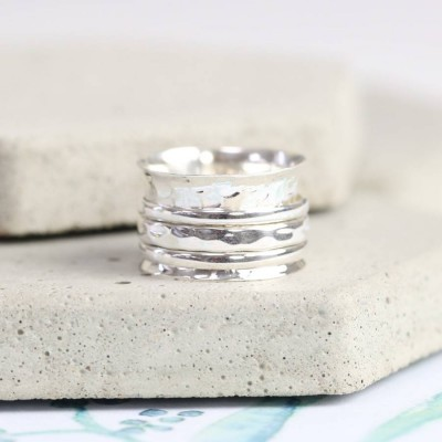 Sterling Silver Hammered Effect Spinning Ring - Handcrafted & Custom-Made
