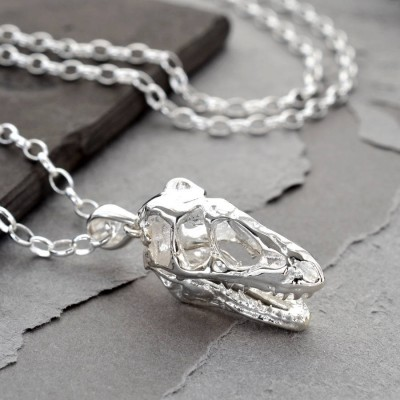 Sterling Silver T Rex Skull Necklace - Handcrafted & Custom-Made