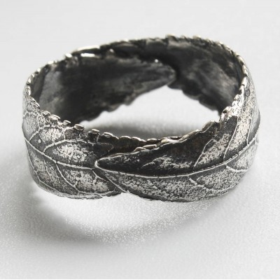 Handmade Woodland Unisex Silver Leaf Ring - Handcrafted & Custom-Made